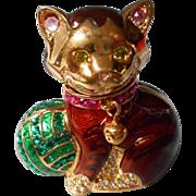 Rare Adorable Vintage Judith Leiber  Solid Perfume Kitten