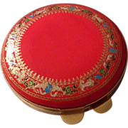 Vintage Leather Powder Compact with Embossed Design, Italy