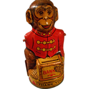 Vintage Tin Monkey Bank by Chein