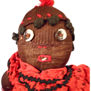 Black Memorabilia Sock Doll with Embroidered Face and Hair