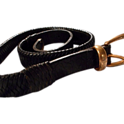 Cole Haan Black Woven Leather Belt, 36 Inches
