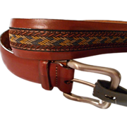 Men's Vintage Brown Leather Belt with Fabric center, Brighton, Size 32