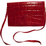 Fabulous Red Leather Designer Bag by Mary Ann Rosenfeld - Red Tag Sale Item
