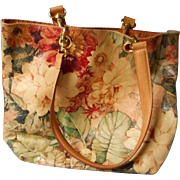 Unique Leather Floral Handbag by Maurizio Taiuti, Italy