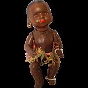 Rare Heubach Koppelsdorf Black Ethnic Bisque Doll in Grass Skirt