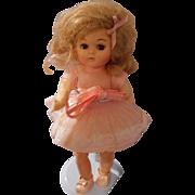 Vintage 8 inch  Doll in Pink Organdy Dress by Virga