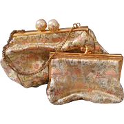 Vintage Tiny French Satin Brocade Purse and Matching Coin Purse