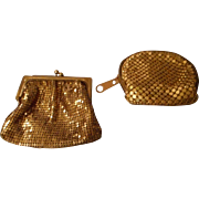 2 Vintage Gold Toned Mesh Coin Purses