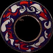 Enameled Circle Pin, Vintage