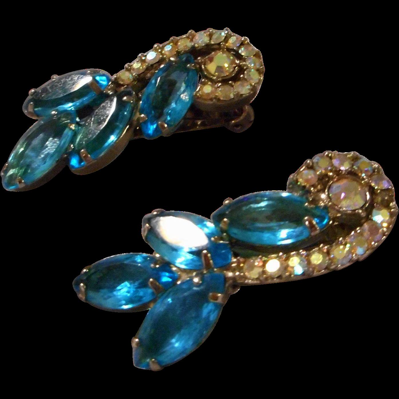 Rhinestone Earrings Vintage 62