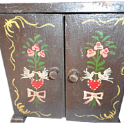 Hand painted Vintage German Miniature Wedding Cabinet