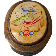 Brass Etched and Enameled Mother of Pearl  Box
