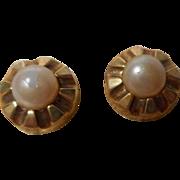 8k gold Faux Pearl Earrings, Germany