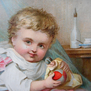 Early Lithograph Christmas Baby Print