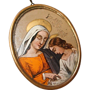 Saint Anne and Mary Lithograph on Glass
