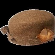 Stylish Brushed Felt and Mink Vintage Pillbox Hat