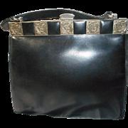 All Leather Black Vintage German Handbag - Red Tag Sale Item