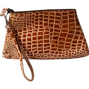 Embossed Reptile Leather Clutch by DB Goldsmith