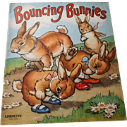 "1942 ""Bouncing Bunnies"" Linenette Child's Picture Book"