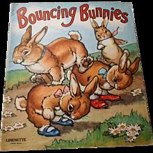 "1942 ""Bouncing Bunnies"" Linenette Child's Picture Book"
