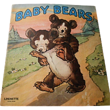 """1942 """"Baby Bears"""" Linenette Child's Picture Book"""