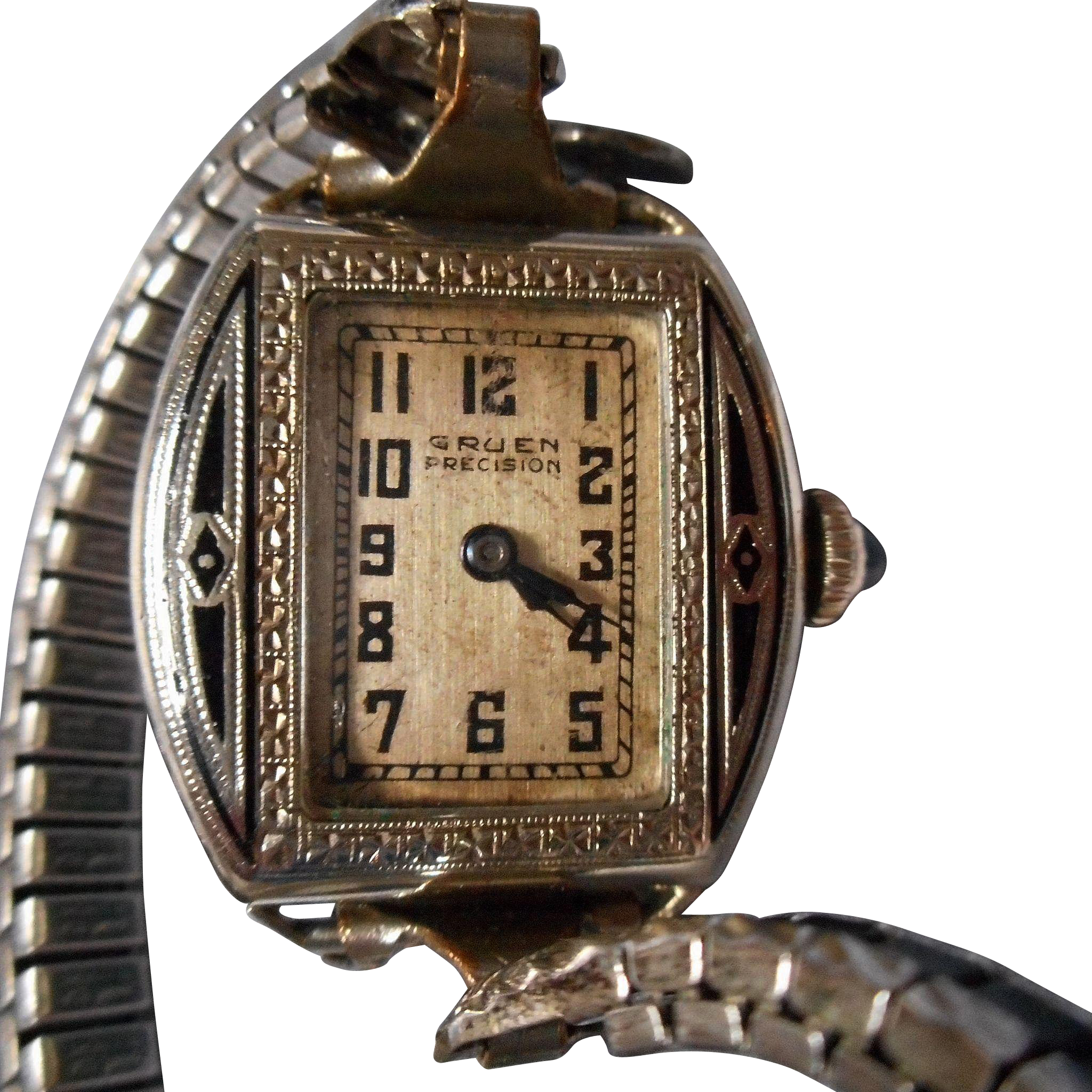 vintage enameled gruen ladies wristwatch from eleanorslegacy on ruby lane. Black Bedroom Furniture Sets. Home Design Ideas