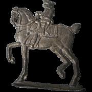 Vintage German Soft Metal Figurine, Military Horse and Rider