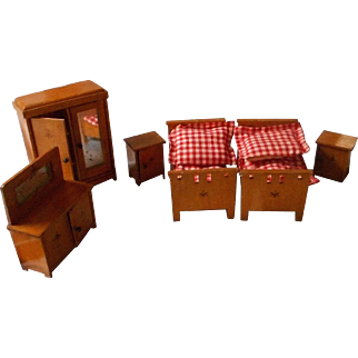 German, Vintage All Wooden Doll House Bedroom Set