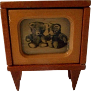 All Wood Vintage German Doll House Television