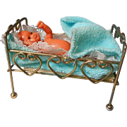 All Metal Doll House Bed And Jointed German Baby
