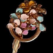 Lovely Enameled Floral Brooch