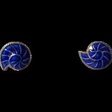 Cobalt Blue Enamel Earrings, 925,Snail Shell Pattern