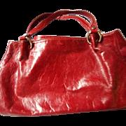 Italian Vintage Red Leather Handbag, Maurizio Taiuti - Red Tag Sale Item