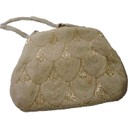 Vintage Mid Century Beaded Bag,Scallop Design