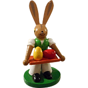 All Wood Hand Painted Bunny with Easter Eggs on Tray - Red Tag Sale Item