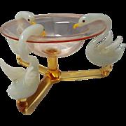 Fine Hand Blown Bimini  Glass Swan and Pink Pedestal Bowl