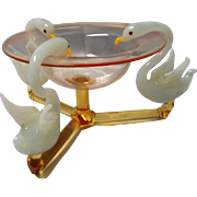 Fine Hand Blown Bimini  Glass Swan and Pink Pedestal Bowl