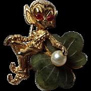 Connemara marble Shamrock Pin with Brass Leprechaun