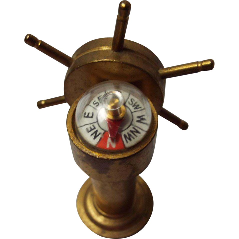 Vintage Brass Miniature Ships Wheel And Compass From