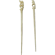Pair of  SEWING BODKINS & AWL combo. CAMEL FINIAL on one and HAWK on other; Antique c19th Century France