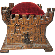 Wooden and Hand Carved TREEN Castle shaped square PIN CUSHIONED top box , working lock, key and a variety if sewing supplies; Antique c1700's from Black Forest
