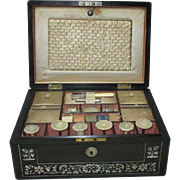 20pc Ebony and Mother-of-Pearl inlaid labeled SEWING BOX ;19th century, Kennedy Manufacturer