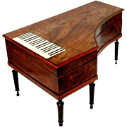 PALAIS ROYAL ETUI 15pc PIANO shaped MUSIC BOX; Antique c1820's,Original key MOP with 18kt gold trim tools