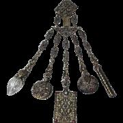 c1800 VICTORIAN 5 ARM ENAMEL Antique Original CHATELAINE PIN CUSHION,PENCIL,PAPER