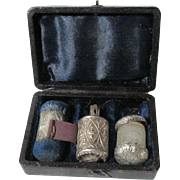 ETUI,Sterling & Leather GEORGIAN set; TAPE MEASURE,Thimble & Pin Cushion ANTIQUE Original c1800