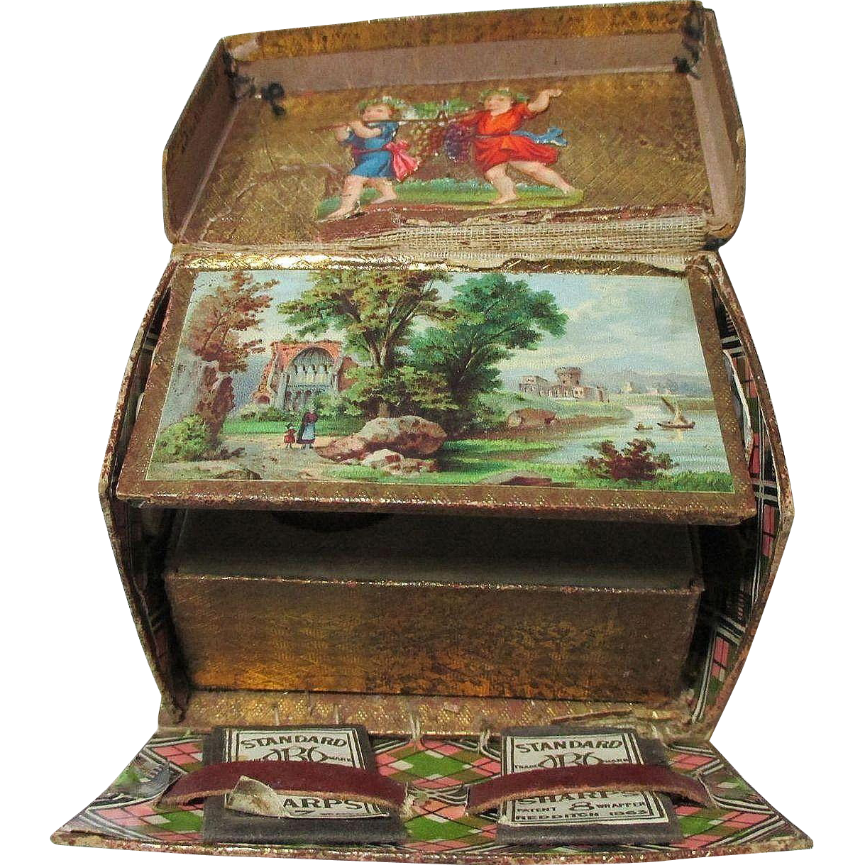 19th Century Victorian LITHOGRAGH SEWING BOX Scraps