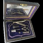 5pc Silver Sewing Necessaire ETUI in Dark WOOD box; 18th century Original Antique, HALLMARKED
