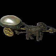 2 GOATs pulling MOP EGG on Wheels. MULTI-FUNCTION, Thimble Salt or Trinket:Original Antique c1800