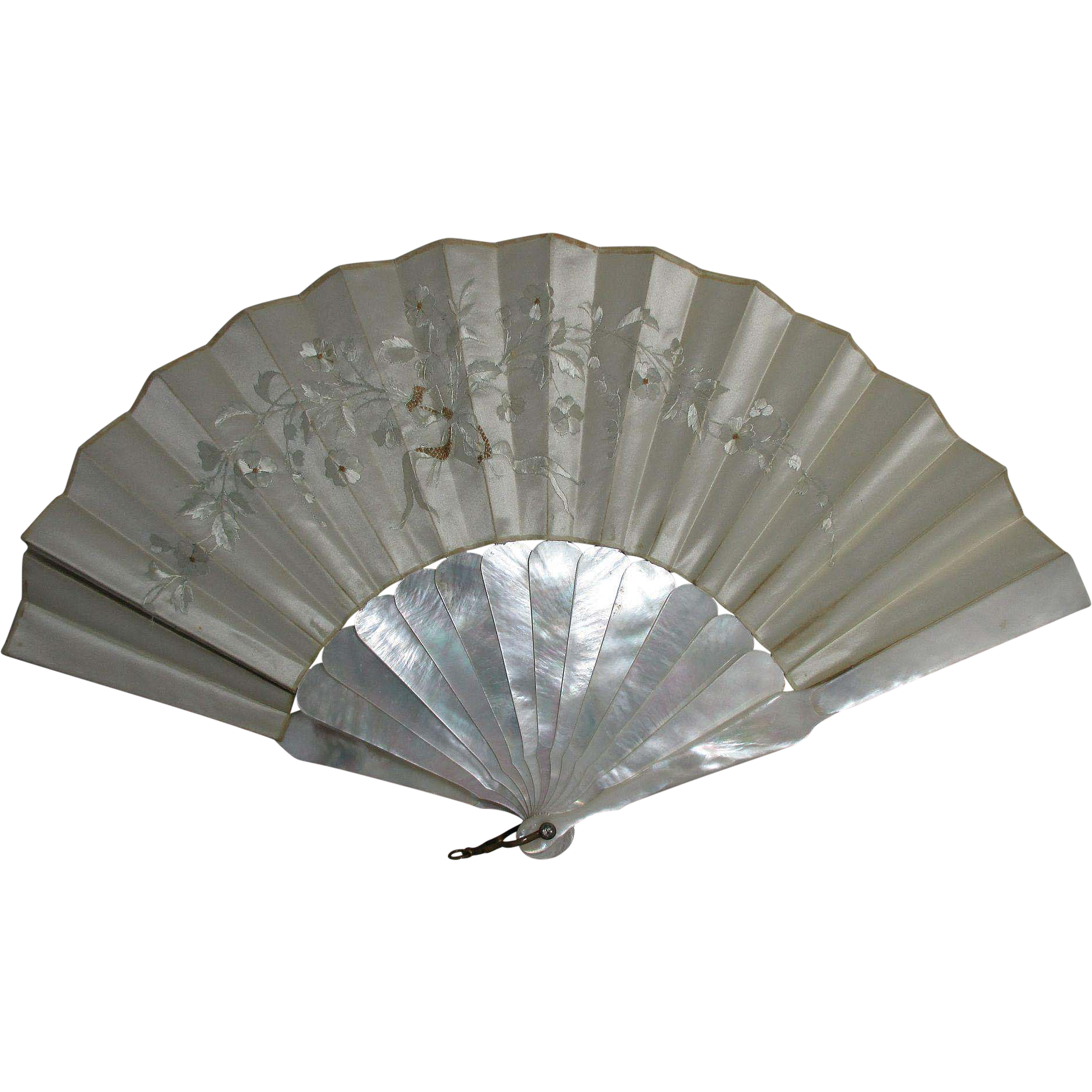 Mother-of-Pearl & Silk Embroidered FAN In Original Box