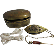 Tatting shuttle, agate handled picot hook on a chain in a brass box set; Antique c 1800's ,France